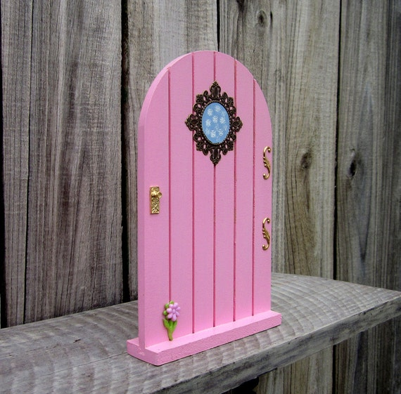 Fairy door pink wood painted embellished by for Painted fairy doors