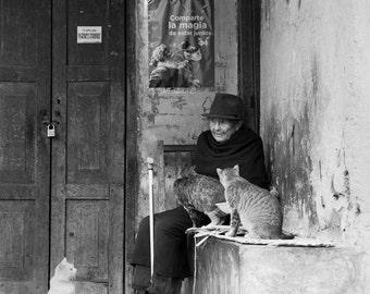 Lady with Cats ~ Quito, Ecuador