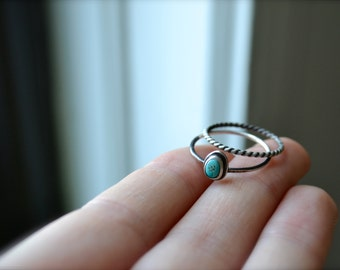 Morenci Turquoise Dark Silver Ring Stacking Set