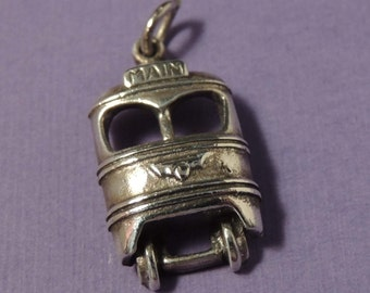STERLING Bus Charm / Vintage Sterling Bus Charm / Sterling Silver Bus Charm / Transportation Charm / Bracelet Charm / Pendant Charm