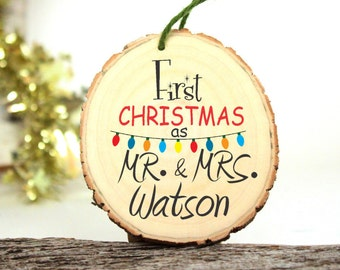 2016 Ornament - Our First Christmas as Mr and Mrs - Gifts for Newlyweds - Wedding Gift - Customized Christmas Ornament - XMAS045