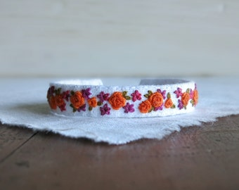 Summer Floral Fabric Cuff Bracelet - Orange and Raspberry Floral Embroidered Fabric Cuff