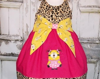 Pigtail Girl Minion Cheetah Pink Big Bow Dress 2 3 4 5 6 7 8 Custom Boutique Birthday Leopard Despicable Me Universal Studios Made in USA