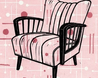 Mid-Century Modern Chair on a Pink Vintage Fabric Linocut Background