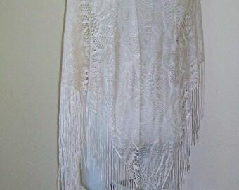 Fringed  Mantilla - Cream - Rayon Lace - Flamenco - Spain