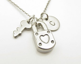 Lock and Key Necklace, Padlock and Key Necklace, Personalized, Stainless Steel Lock and Key, Initial Necklace, Heart Lock, Monogram Y292