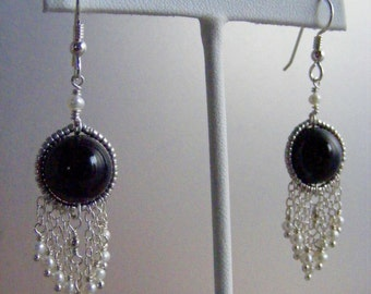 Black and White - Onyx and Salt Water Pearl Swag Earrings