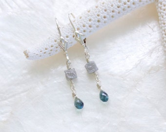 Antique Inspired Sterling Silver Teal Sapphire and Raw Uncut Diamond Earrings Eco Friendly Nickel Free Conflict Free Ready to Ship