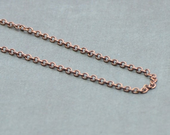 """Pure Copper Chain Necklace - 16"""" or 18"""" Antiqued"""