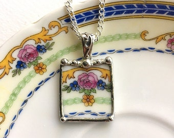 Broken China Jewelry pendant necklace antique fine bone china porcelain pink rose