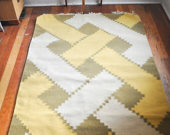 RESERVED Vintage Modern Woven Wool Rug Geometric Pattern Area Rug Made in India