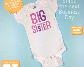 Big Sister Onesie or Shirt, Big Sister Shirt,  Infant, Toddler or Youth Tee Shirt or Onesie (12312013a)