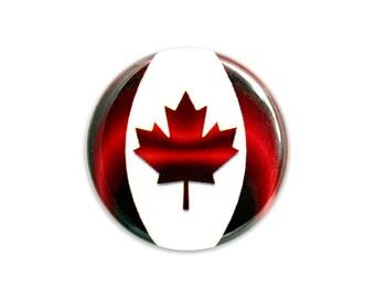 "Canada Flag Button, Canada Pin, 1.25"" Button, Maple Leaf Button - E5-1"