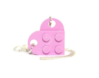 Pink Heart Necklace made from LEGO ® Heart Pieces, Geek Valentine, Geek Love