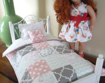 3 Piece Quilted Doll Bed Set, Quilt, Pillow Sham, Accent Pillow, American Girl, 18 Inch Doll, Pink, Grey, Teal Doll Bedding Gift Set