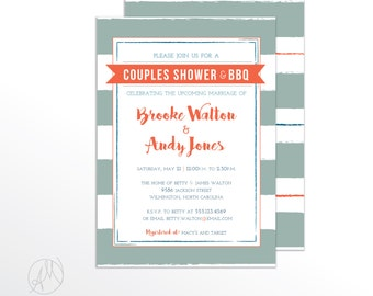 Couples Shower and Barbeque Invitation, Wedding I Do BBQ Invites, Cookout Party Invite, Tailgate Party Printable DIY Invitations - Brooke