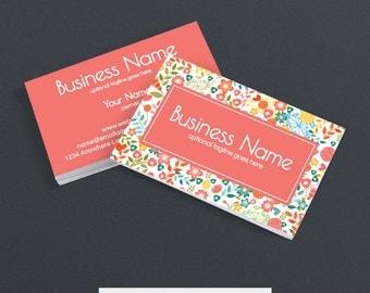 SALE 30% OFF Business Card Designs - Floral Business Card -  2 Sided Printable Business Card Design - Cathy