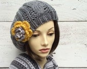 Knit Beret, Grey Hat with Flower Pin, Knit Hat, Grey Knit Hat with Flower, Winter Hat, Tam, Knitted Beret, Women Hat, Beanie