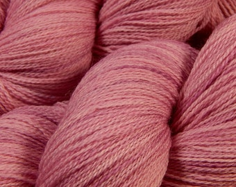 Hand Dyed Lace Yarn - Lace Weight Superwash Merino Wool Yarn - Mallow - Knitting Yarn, Tonal Pink, Rose, Lilac Hand Dyed Yarn