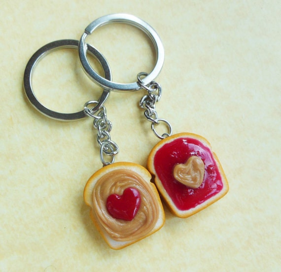 Peanut Butter and Jelly Key Chains, Bff, Friendship Key Chains ...