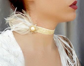 Art Deco Choker - Cream Velvet Pearl, Crystal, Peacock Feather Rhinestone Choker, Bridal, Vintage Wedding Headband