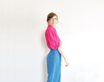 baggy hip high waist trouser . matte silk teal pant . rich blue green .small.medium .sale s a l e