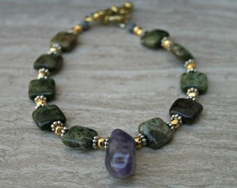 African Green Opal, amethyst drop, green jewelry, mixed metal, natural brown bracelet, green bead, gold plated, stone jewelry, boho style,
