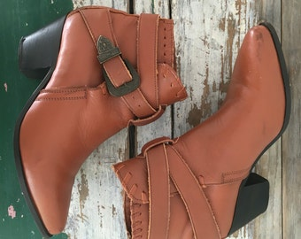 Cowboy Boots, Brown Leather Boots, Leather Booties, Boots with Buckle, Western Boots, Cowboy Booties, Cowboy Shoes Brown Size 6.5 UK 4 EU 37