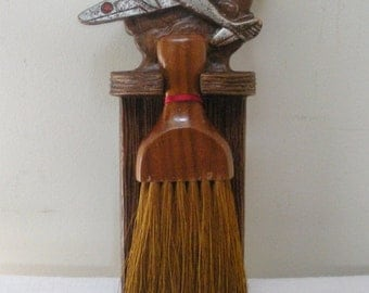 Vintage OrnaWood Wisk Broom Holder with Airplane