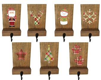 stocking holder, mantle stockings, reclaimed wood, rustic Christmas, pet stocking holder,  mantle decor, wood stocking hanger, plaid decor