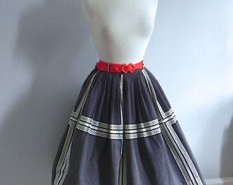 Vintage 1950s Dot Skirt - Black and White Print 50s Rockabilly Full Swing Skirt - on sale