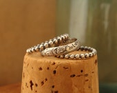 Oxidized Sterling Silver Stack Rings--Cowgirl Trio--Western Floral and Beaded--Handcrafted--Made to Order--Sweet & Simple