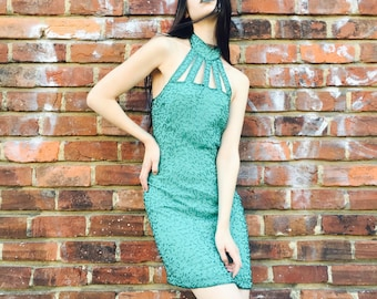 Green Beaded Halter Glam Dress