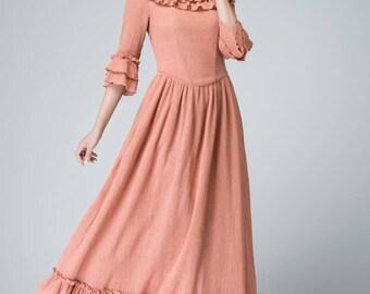 Pink Linen maxi dress - Feminine long dress with ruffle deatil - 2016 pary dress - three quarter sleeve dress - spring dress  1474