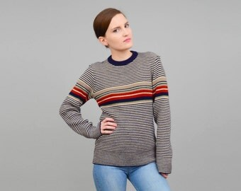 Vintage 70s Striped Crewneck Sweater Retro Boyfriend Sweater Slouchy Acrylic Knit Top Navy Tan Brown made in Italy Small Medium S M