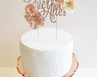 Handmade 'Happily Ever After' Metallic Cake Topper