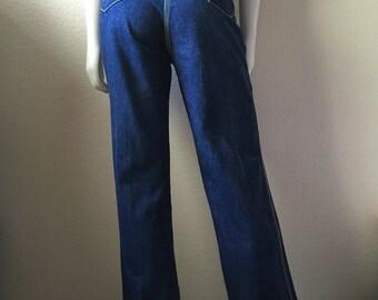 Vintage Women's 70's Sergio Valente Jeans, Dark Wash, High Waisted, Denim Long (L/XL)