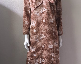 Vintage Women's 70's Dress, Polyester, Brown, Floral Printed, Long Sleeve, Knee Length (XL)
