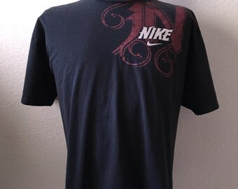 Vintage Men's 90's Nike, T Shirt, Black, Red, Cotton, Short Sleeve (XL)