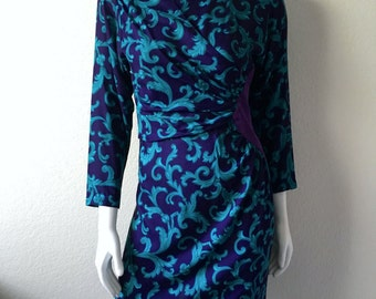 Vintage Women's 80's Paisley Dress, Purple, Long Sleeve by Patty O'Neil (S)
