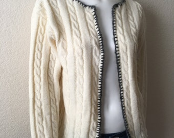 Vintage Women's 70's Jantzen, Cardigan Sweater, Off White, Long Sleeve (L)