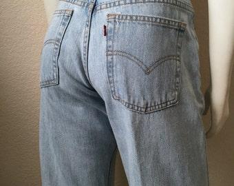 Vintage Women's 90's Levi's 577, Jeans, Low Rise, Loose Fit, Light Blue, Denim (M)