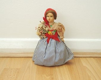 Vintage Doll With Blue White Striped Skirt Plus Flower Bouquet Worldwide Shipping