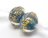 Lampwork beads, gold leaf, marine blue, ocean blue, lampwork earring pair, round lampwork beads, blue glass beads, beachy beads