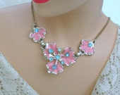 Choker Necklace Vintage 60s Costume Jewelry Blue Rhinestones Pink Enamel Flowers
