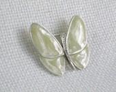 Butterfly Brooch Pin Beige Microglitter Resin Enamel Vintage 80s Figural Jewelry