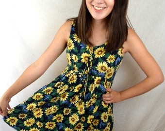 Vintage 90s Sunflower Summer Mini Babydoll Dress - All That Jazz