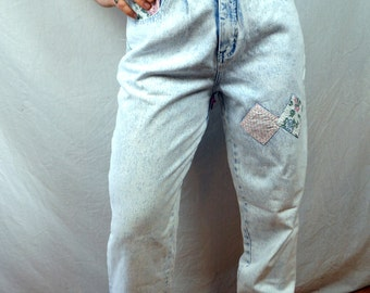 Vintage 80s 1980s Steffano Acid Washed Light Wash Jeans - with Floral Patches