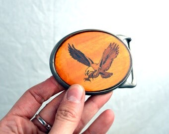 Vintage Eagle Wood and Metal Belt Buckle