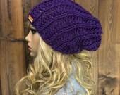 Crochet Ribbed Slouchy Slouch Crochet Beanie Hipster Hat - KITLOPE - FAIRY SLIPPER